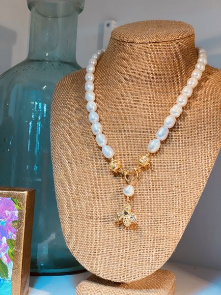 The Polka-Dot Palm Edenton NC, Pearl Bee Drop Necklace
